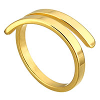 Stainless Steel Open Finger Ring gold color plated for woman 7mm US Ring Size:8