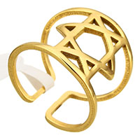 Stainless Steel Cuff Finger Ring Star of David gold color plated for woman 17mm US Ring Size:7