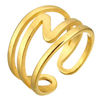 Stainless Steel Cuff Finger Ring gold color plated for woman 13mm US Ring Size:8