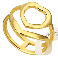 Stainless Steel Finger Ring Heart gold color plated for woman 16mm US Ring Size:6