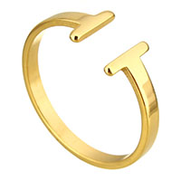 Stainless Steel Cuff Finger Ring gold color plated for woman 8mm US Ring Size:9