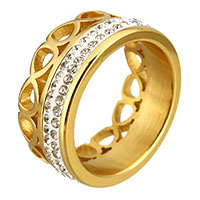 Rhinestone Stainless Steel Finger Ring with Rhinestone Clay Pave gold color plated for woman 9mm US Ring Size:8