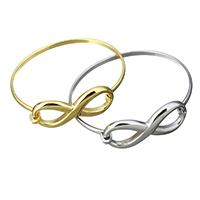 Stainless Steel Bangle Infinity plated for woman 39x17.5mm 3x1.5mm Inner Diameter:Approx 55x49mm 5PCs/Lot
