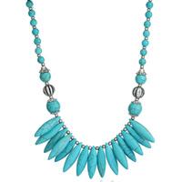 Ожерелья из бирюзы, Синтетическая бирюза, с цинковый сплав, с 5cm наполнитель цепи, плакированный цветом под старое серебро, голубой, 45x110mm, Продан через Приблизительно 17.5 дюймовый Strand