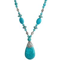 Ожерелья из бирюзы, Синтетическая бирюза, с Стеклянный бисер & цинковый сплав, с 5cm наполнитель цепи, Каплевидная форма, плакированный цветом под старое серебро, голубой, 50x30mm, Продан через Приблизительно 17.5 дюймовый Strand