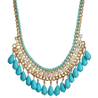 Ожерелья из бирюзы, цинковый сплав, с Бархат & Синтетическая бирюза, с 7cm наполнитель цепи, Каплевидная форма, плакирован золотом, со стразами, голубой, не содержит свинец и кадмий, 45x13mm, Продан через Приблизительно 17.5 дюймовый Strand