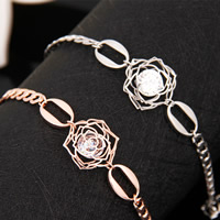 Zinc Alloy Bracelet with Cubic Zirconia Flower plated curb chain   with rhinestone mixed colors lead   cadmium free 160mm Length:Approx 6 Inch 2Strands/Bag