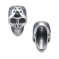Stainless Steel Bracelet Finding Skull blacken 14x23x14.50mm Hole:Approx 8.5mm 12PCs/Lot