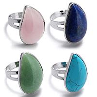 Латунь Кольцо, с Полудрагоценный камень, Листок, плакирован серебром, различные материалы для выбора, не содержит никель, свинец, 16x26mm, размер:8, продается PC