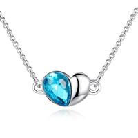 Кристалл ожерелье с цинковым сплавом, цинковый сплав, с железный цепи & Кристаллы, Сердце, Платиновое покрытие платиновым цвет, Роло цепь & Женский & граненый, не содержит свинец и кадмий, 14x18mm, Продан через Приблизительно 15.5 дюймовый Strand