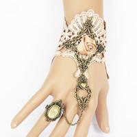 Готический браслет кольцо, цинковый сплав, с Кружево & Сатиновая лента & Канифольные кристаллы, с 7cm наполнитель цепи, Покрытие под бронзу старую, регулируемый & Женский, не содержит свинец и кадмий, 150mm, размер:6-10, Продан через Приблизительно 5.5 дюймовый Strand
