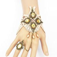 Готический браслет кольцо, цинковый сплав, с Кружево & Кристаллы, с 7cm наполнитель цепи, Покрытие под бронзу старую, с краской & регулируемый & Женский & граненый, не содержит свинец и кадмий, 150mm, размер:6-10, Продан через Приблизительно 5.5 дюймовый Strand