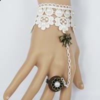 Готический браслет кольцо, Кружево, с ABS пластик жемчужина & деревянный & цинковый сплав, с 7cm наполнитель цепи, Другое покрытие, с краской & регулируемый & Женский, 125mm, размер:6-10, Продан через Приблизительно 4.5 дюймовый Strand