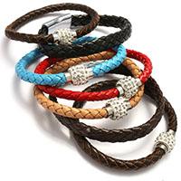 ПУ шнур браслеты, Искусственная кожа, с клей, нержавеющая сталь замок магнитный, Женский, разноцветный, 6-9.5x4-6mm, длина:Приблизительно 8 дюймовый, 20пряди/Лот, продается Лот