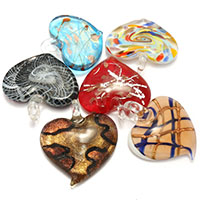 Fashion Lampwork Pendants vidrilho misto   pó de ouro 42-45x40-50x13-16mm Buraco:Aprox 4-8mm 3Bolsasbolsa/Lot 10PCs/Bag vendido por Lot