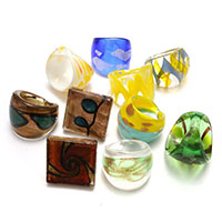 Lampwork Finger Ring mixed 24-27mm US Ring Size:6-8 5Bags/Lot 10PCs/Bag