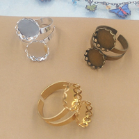 Brass Bezel Ring Base Flower plated nickel lead   cadmium free 10-12mm Inner Diameter:Approx 12mm US Ring Size:6-9 10PCs/Bag