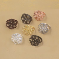 Brass Bezel Ring Base Flower plated adjustable nickel lead   cadmium free 20mm US Ring Size:6-9 20PCs/Bag