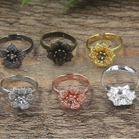 Brass Bezel Ring Base Flower plated adjustable nickel lead   cadmium free 16x5mm US Ring Size:6-9 20PCs/Bag