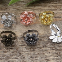 Brass Bezel Ring Base Flower plated adjustable nickel lead   cadmium free 18x5mm US Ring Size:6-9 20PCs/Bag