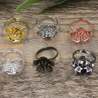 Brass Bezel Ring Base Flower plated adjustable nickel lead   cadmium free 18x6mm US Ring Size:6-9 20PCs/Bag