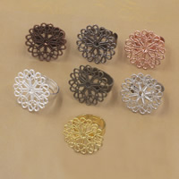 Brass Bezel Ring Base Flower plated adjustable nickel lead   cadmium free 23mm US Ring Size:6-9 20PCs/Bag