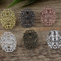 Brass Bezel Ring Base Flower plated adjustable nickel lead   cadmium free 24x31mm US Ring Size:6-9 20PCs/Bag