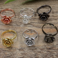 Brass Bezel Ring Base Flower plated adjustable nickel lead   cadmium free 15x7mm US Ring Size:6-9 20PCs/Bag