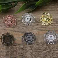 Brass Bezel Ring Base Flower plated adjustable nickel lead   cadmium free 28mm Inner Diameter:Approx 12mm US Ring Size:6-9 10PCs/Bag