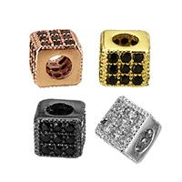 Кубический цирконий микро проложить латунные бусины, Латунь, Другое покрытие, инкрустированное микро кубического циркония, Много цветов для выбора, не содержит никель, свинец, 4x4x4mm, отверстие:Приблизительно 2mm, 10ПК/Лот, продается Лот