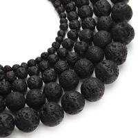 Бусины из природной лавы, лава, Круглая, натуральный, разный размер для выбора, отверстие:Приблизительно 1mm, Продан через Приблизительно 15 дюймовый Strand