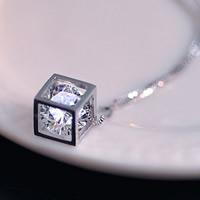 Подвески из кристаллов, Латунь, с Кристаллы, Куб, плакированный настоящим серебром, граненый, не содержит никель, свинец, 8mm, отверстие:Приблизительно 2-3mm, продается PC
