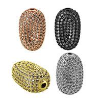 Кубический цирконий микро проложить латунные бусины, Латунь, Плоская овальная форма, Другое покрытие, инкрустированное микро кубического циркония, Много цветов для выбора, не содержит никель, свинец, 20x12.50x9mm, отверстие:Приблизительно 1.5mm, 5ПК/Лот, продается Лот