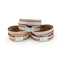 ПУ шнур браслеты, Искусственная кожа, с Пластиковые блестки, цинковый сплав замок магнитный, Платиновое покрытие платиновым цвет, Женский & двунитевая & цветной порошок, Много цветов для выбора, 15mm, длина:Приблизительно 14.7 дюймовый, 3пряди/Лот, продается Лот