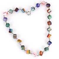 Ожерелья лемпворк, Лэмпворк, с цинковый сплав, Куб, Платиновое покрытие платиновым цвет, Женский & с фрагментом миллефиори, 22x14x14mm, длина:Приблизительно 19.5 дюймовый, 3пряди/Лот, продается Лот