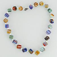 Ожерелья лемпворк, Лэмпворк, с Нейлоновый шнурок & Стеклянный, цинковый сплав Замочек-колечко, Куб, Платиновое покрытие платиновым цвет, Женский & с фрагментом миллефиори, 14x12x10mm, 4mm, длина:Приблизительно 17.5 дюймовый, 3пряди/Лот, продается Лот