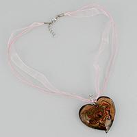 Ожерелья лемпворк, Лэмпворк, с Марля & Нейлоновый шнурок & цинковый сплав, цинковый сплав Замочек-колечко, с 1.5lnch наполнитель цепи, Сердце, Платиновое покрытие платиновым цвет, Женский & 3-нить & эмаль & золотой песок, 48x52x16mm, 1mm, 10x0.3mm, длина:Приблизительно 18.5 дюймовый, 15пряди/Лот, продается Лот