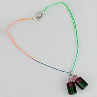 Кошки ожерелье глаз, Лэмпворк, с кошачий глаз & Нейлоновый шнурок, цинковый сплав Замочек-колечко, с 1lnch наполнитель цепи, Столбик, Платиновое покрытие платиновым цвет, Женский & двунитевая & серебрянная фольга, 14x34x14mm, 1mm, длина:Приблизительно 17.5 дюймовый, 15пряди/Лот, продается Лот