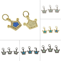 Cubic Zirconia Micro Pave Brass Pendant with Opal Crown plated micro pave cubic zirconia nickel lead   cadmium free 13x15x2mm Hole:Approx 4mm