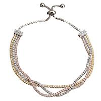 Серебро 925 пробы браслет, Другое покрытие, регулируемый & Женский & 3-нить & с кубическим цирконием, 2x2mm, длина:5.5-8.7 дюймовый, 5пряди/Лот, продается Лот