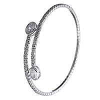 Серебро 925 пробы браслет на запястье/щиколотку, регулируемый & Женский & с кубическим цирконием, 6.5x3mm, 2x2mm, длина:Приблизительно 6.5 дюймовый, 5ПК/Лот, продается Лот