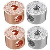 Кубический цирконий микро проложить латунные бусины, Латунь, Столбик, Другое покрытие, Высокое качество и никогда не выцветает & инкрустированное микро кубического циркония, Много цветов для выбора, не содержит никель, свинец, 11x11x7.50mm, отверстие:Приблизительно 4mm, 10ПК/сумка, продается сумка