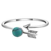 Латунь Манжеты палец кольцо, с Синтетическая бирюза, Стрелка, плакированный настоящим серебром, регулируемый & Женский, не содержит свинец и кадмий, 6.6mm, размер:6.5-8, продается PC