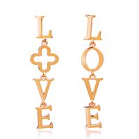 Асимметричные серьги, цинковый сплав, латунь гвоздик, слова любви, плакированный настоящим золотом, Женский, не содержит никель, свинец, 64x12mm, продается Пара