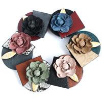 шнур ожерелье, Искусственная кожа, с Вощеная Конопля шнура & канифоль, Форма цветка, Женский, Много цветов для выбора, 580x60x73mm, Продан через Приблизительно 22.5 дюймовый Strand