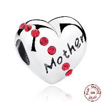 Таиланд бусины Европейская стиль, Сердце, слова матери, День матери ювелирные изделия & без Тролль & с кубическим цирконием, отверстие:Приблизительно 4.5mm, продается PC