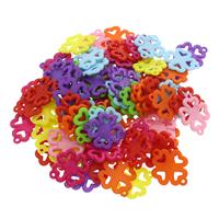 Акриловые соединители, Акрил, Четырехлистный клевер, 1/1 петля & ровный цвет, разноцветный, 29x23.50x2mm, отверстие:Приблизительно 2mm, 500G/сумка, продается сумка