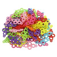 Акриловые соединители, Акрил, 1/1 петля & ровный цвет, разноцветный, 34x18x3mm, отверстие:Приблизительно 2mm, 500G/сумка, продается сумка