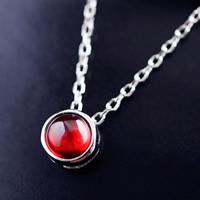 Ожерелье из агата, Серебро 925 пробы, с красный агат, Овальный цепь & Женский, 7mm, 5mm, Продан через Приблизительно 16 дюймовый Strand