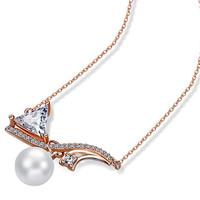Кубический циркон микро проложить латуни ожерелье, Латунь, с ABS пластик жемчужина, плакированный цветом розового золота, Овальный цепь & инкрустированное микро кубического циркония, не содержит никель, свинец, 8x30mm, длина:Приблизительно 18 дюймовый, 3пряди/Лот, продается Лот
